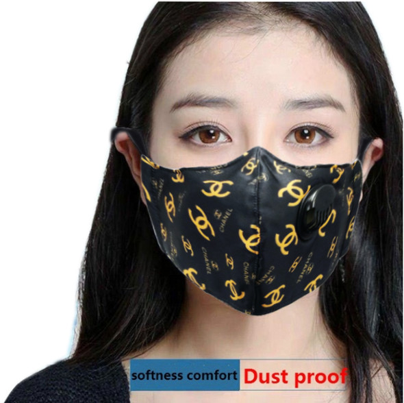"Reusable Face Mask Black/Yellow ""CC"" Pattern with Valve Breathing Filter"