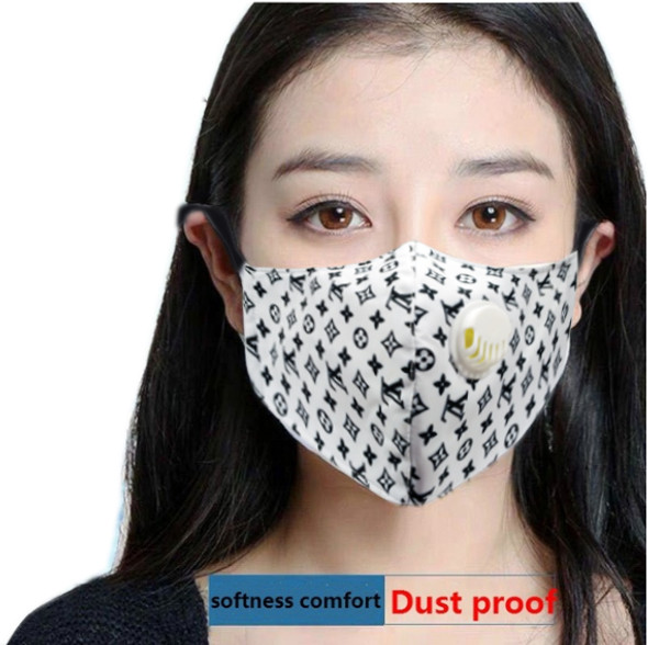 Reusable Face Mask White Pattern with Valve Breathing Filter