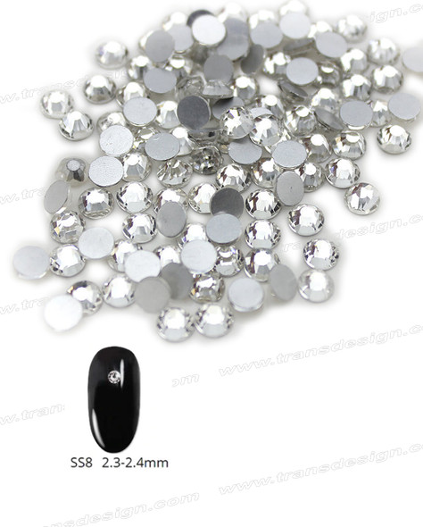 CRYSTAL RHINESTONE Crystal Clear SS8 144 Count/Pack