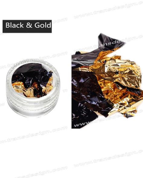 TDI Aluminum Irregular Nail Flakes Sequins Foil Black/Gold.
