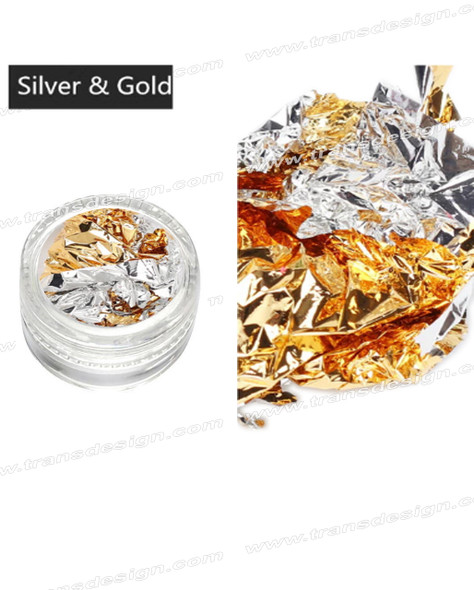 TDI Aluminum Irregular Nail Flakes Sequins Foil Bright Silver/Gold.