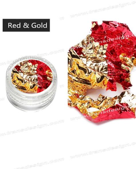 TDI Aluminum Irregular Nail Flakes Sequins Foil Red/Gold.