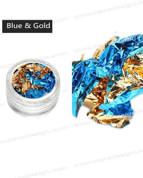 TDI Aluminum Irregular Nail Flakes Sequins Foil Gold/Blue.
