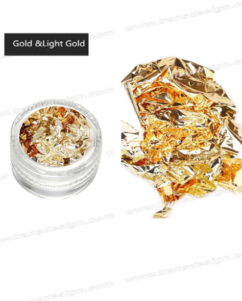 TDI Aluminum Irregular Nail Flakes Sequins Foil Gold & Light Gold