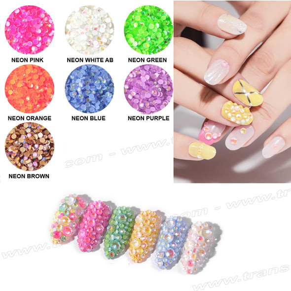 RHINESTONE Neon 6 Assorted Size, 180 Count/Pack