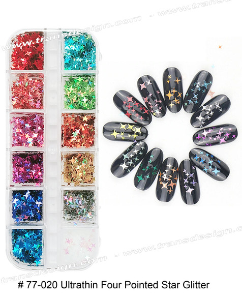 NAIL FOIL - Ultra-thin Four Pointed Star Glitter 12 Color/Compartment Box