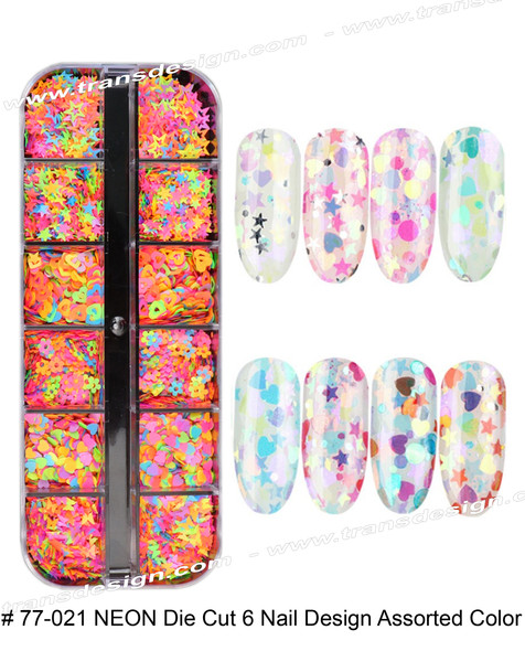 NEON Die Cut 6 Nail Design Assorted Color 12/Compartment Box