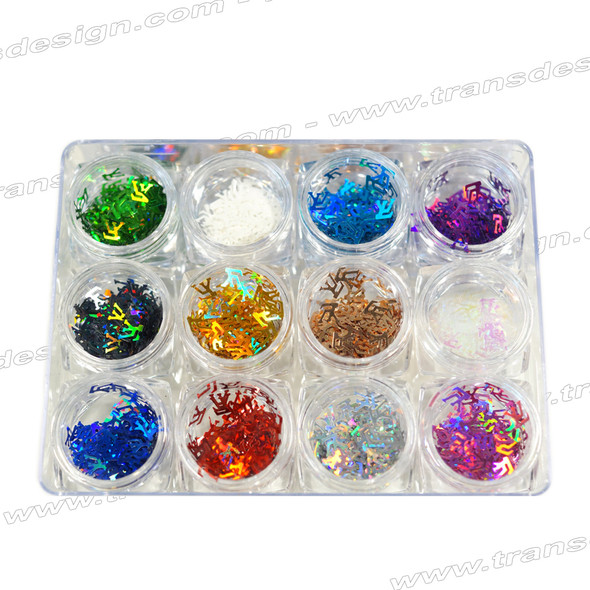 "HOLOGRAM FOIL ""LOUIS VUITTON"" Assorted Color 12 Jar/Case"