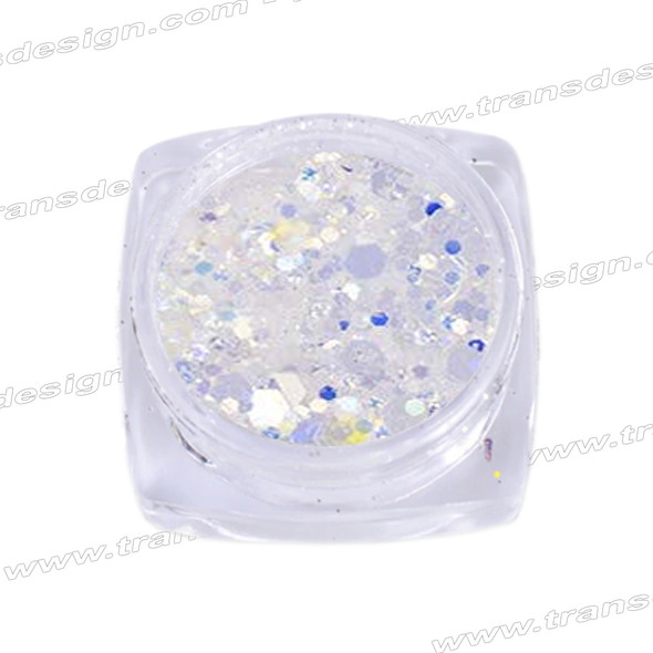 HOLOGRAM MIXED SIZE GLITTER White/Tanzanite Effect .18oz./Jar