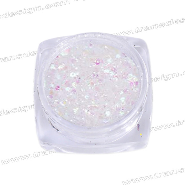 HOLOGRAM MIXED SIZE GLITTER White/Amethyst Effect .18oz./Jar