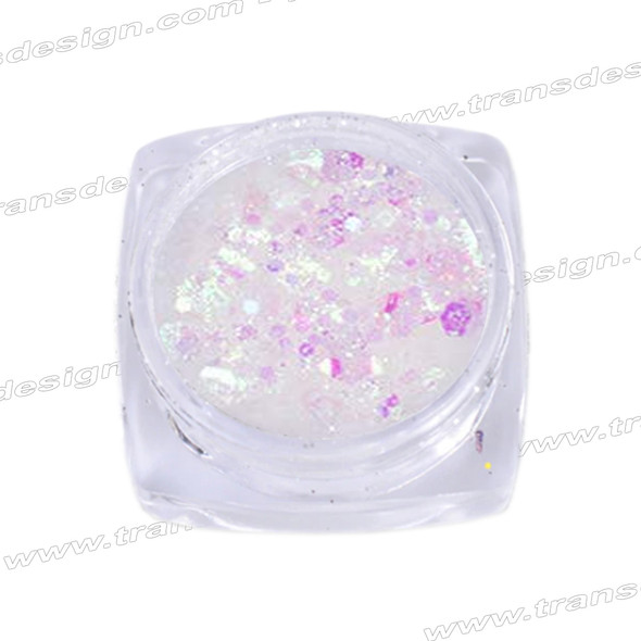HOLOGRAM MIXED SIZE GLITTER White/Rose Effect .18oz./Jar