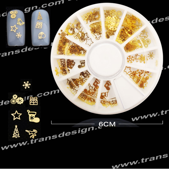 Gold Metal Slices 3d Nail Art Decoration Wheel