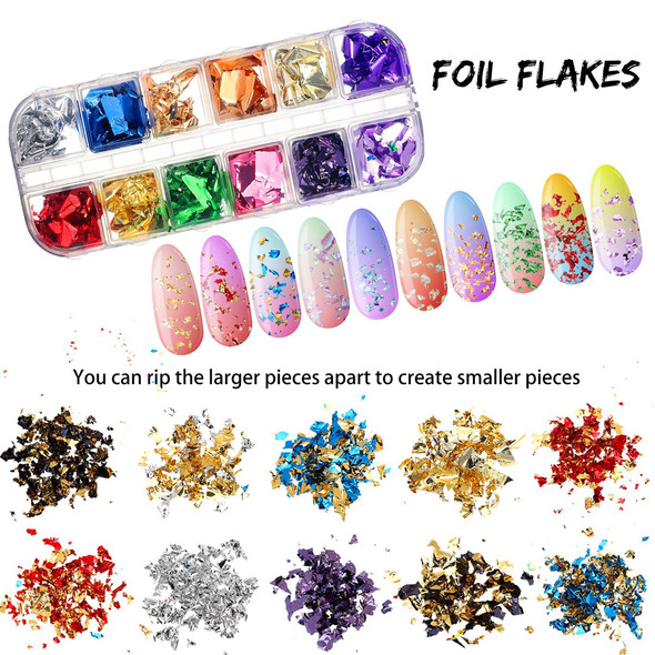 FOIL Nail Paillette Chips 12 Color/Compartment Box