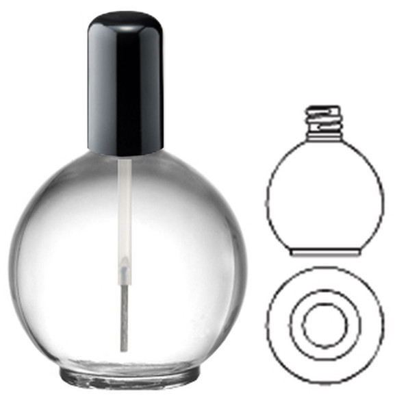 Clear Glass Bottle - Sphere/Ball/Black Cap 2.65oz 24/Tray