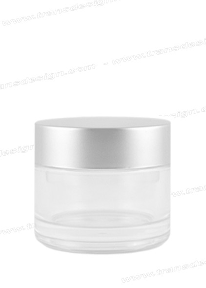 JAR-Clear Glass With Silver Liner Cap 2.3oz. (70ml)