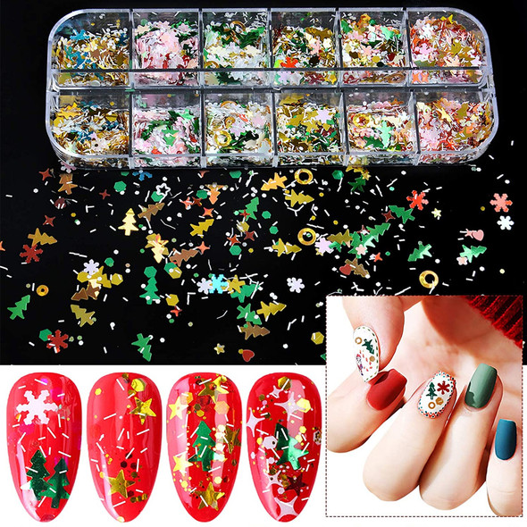 NAIL FOIL Assorted Holiday Decorate 12 Compartment/Case