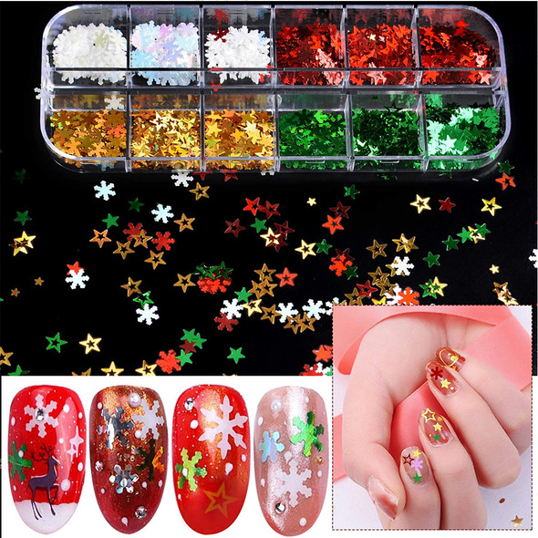 NAIL FOIL Hologram Star & Snowflake 12 Compartment/Case