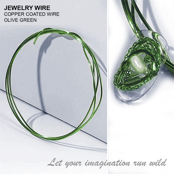 """JEWELRY WIRE Olive Green 0.02"""" Diameter x 40"""" Length"""