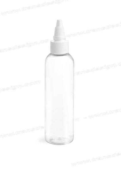 BOTTLE Clear PETE Round/White Twist Top Cap 20/410 4oz.