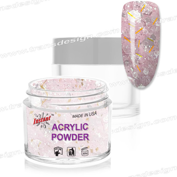 INSTANT ACRYLIC & DIP COLOR - NUDE PRETTY IN PINK HOLOGRAM 2oz.