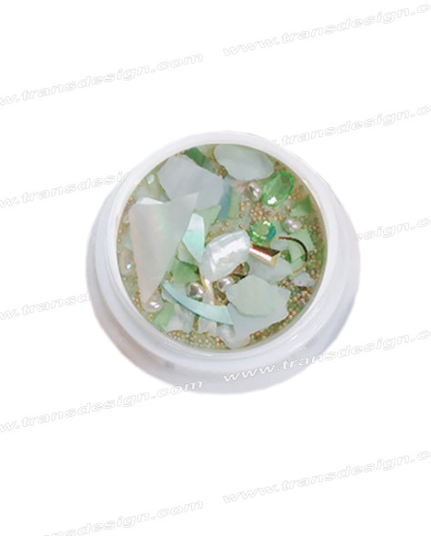3-D NAIL JEWELRY Pearl Green Shell/Gold Alloy Jar