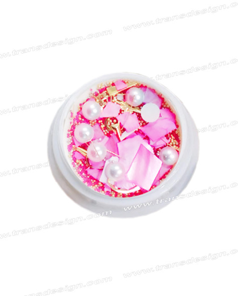 3-D NAIL JEWELRY Pearl Pink Shell/Gold Alloy Jar