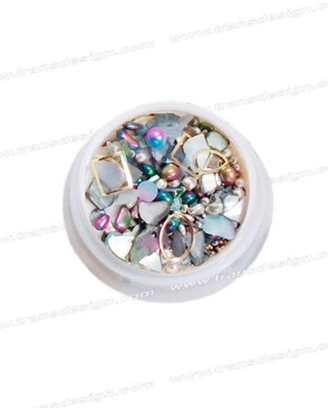 3-D NAIL JEWELRY Gray Purple Shell/Gold Alloy Jar