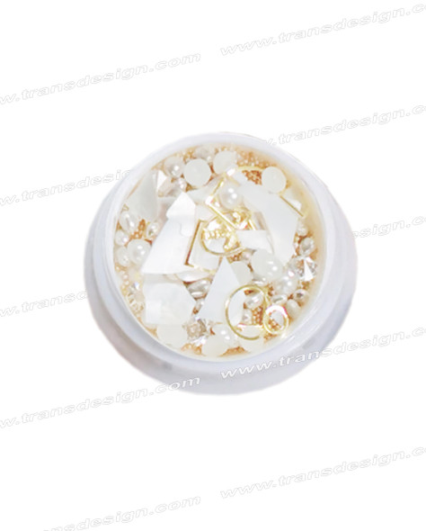 3-D NAIL JEWELRY Pearl Shell/Gold Alloy Jar