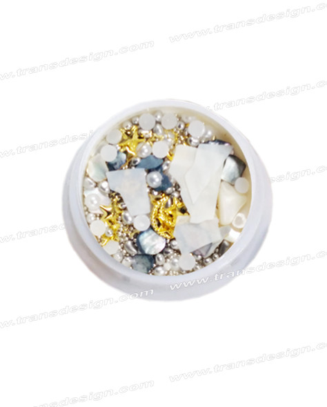 3-D NAIL JEWELRY Pearl White Shell/Gold Alloy Jar