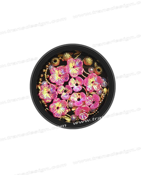3-D NAIL JEWELRY Holographic Pink/Gold Alloy Jar