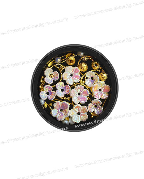 3-D NAIL JEWELRY Holographic White/Gold Alloy Jar