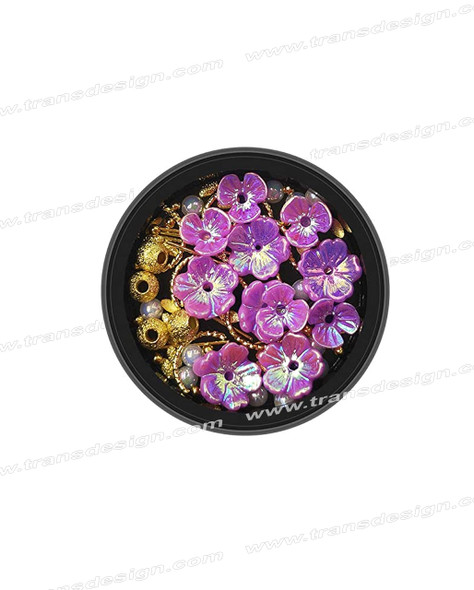 3-D NAIL JEWELRY Holographic Purple/Gold Alloy Jar