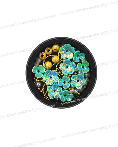 3-D NAIL JEWELRY Holographic Light Blue Flower/Gold Alloy Jar