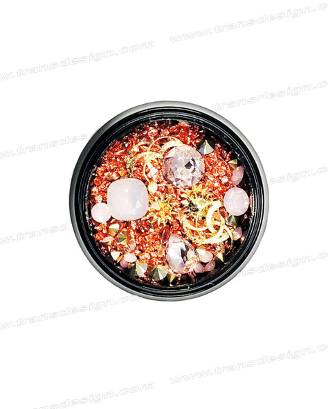 3-D NAIL JEWELRY Light Rose/Rose Gold/ Gold Alloy Jar ZH-1