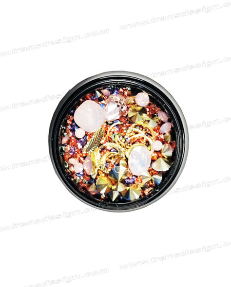 3-D NAIL JEWELRY PINK OPAL/ GOLD ALLOY/ JAR ZH-3
