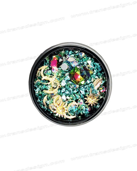 3-D NAIL JEWELRY IRIDESCENT RAINBOW/ GOLD ALLOY/ JAR ZH-4