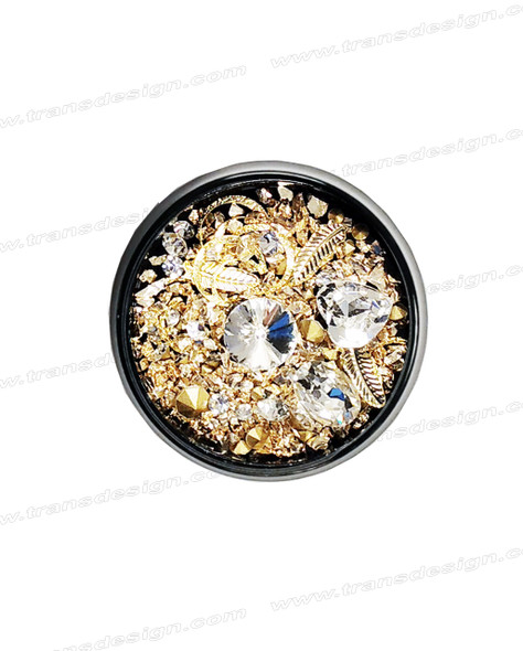 3-D NAIL JEWELRY CRYSTAL AB/ GOLD ALLOY/ JAR ZH-5