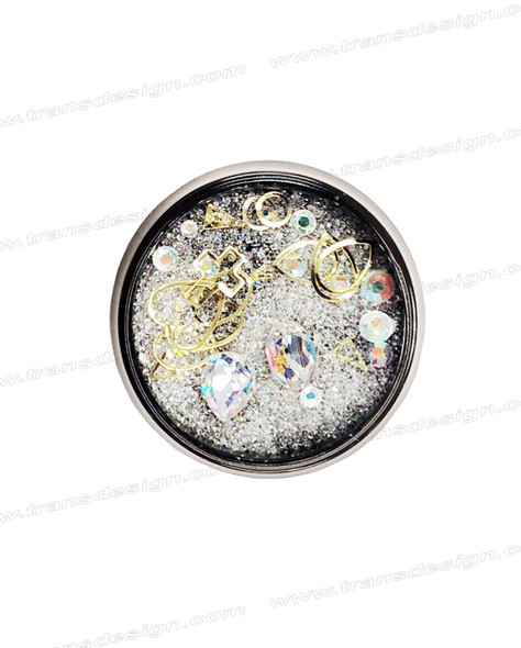 3-D NAIL JEWELRY CRYSTAL AB/ GOLD ALLOY/ JAR ZH-7