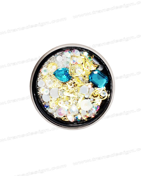 3-D NAIL JEWELRY SAPPHIRE/ GOLD ALLOY/ JAR ZH-8