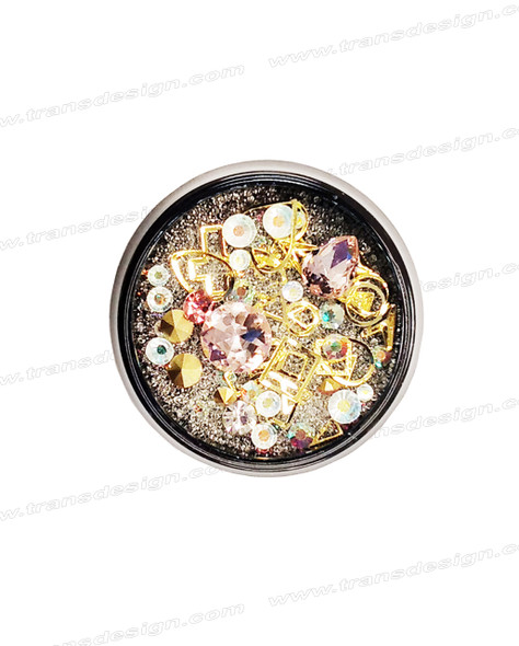 3-D NAIL JEWELRY LIGHT ROSE/ GOLD ALLOY/ JAR ZH-9