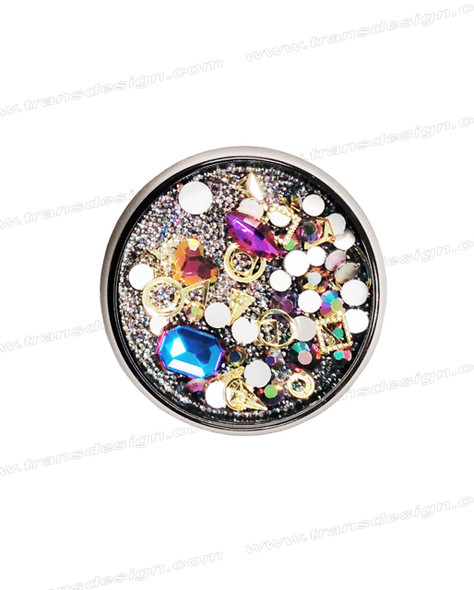 3-D NAIL JEWELRY SAPPHIRE/ GOLD ALLOY/ JAR ZH-10