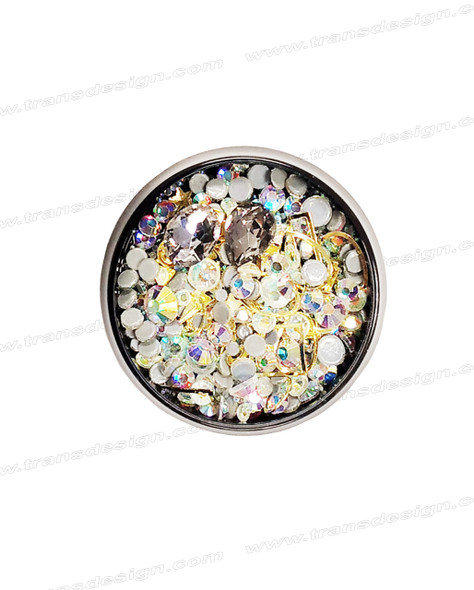 3-D NAIL JEWELRY CRYSTAL AB OPAL/ GOLD ALLOY/ JAR ZH-11