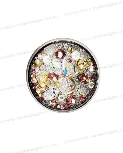 3-D NAIL JEWELRY CRYSTAL AB/ ROSE / GOLD ALLOY/ JAR ZH-12