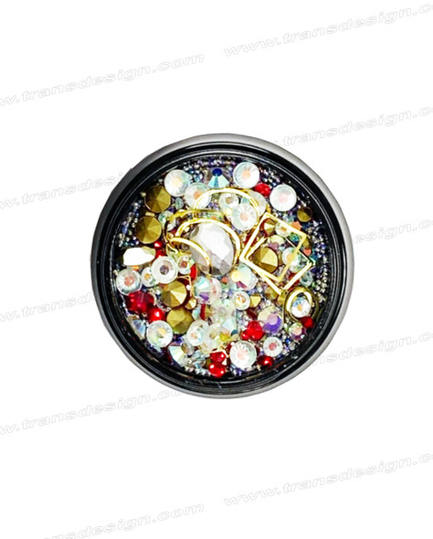 3-D NAIL JEWELRY RED/ CRYSTAL AB/ GOLD ALLOY/ JAR ZH-1
