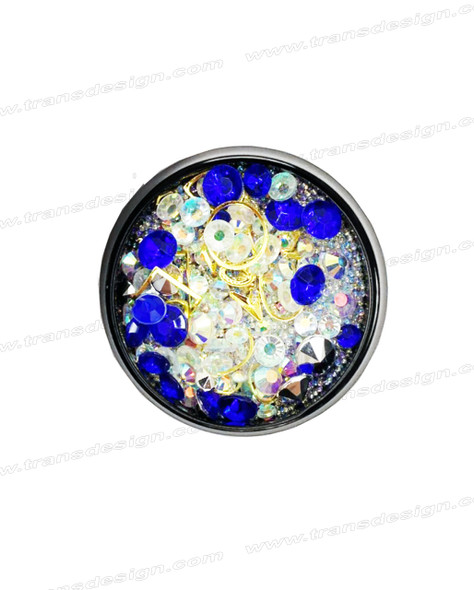3-D NAIL JEWELRY SAPPHIRE/ CRYSTAL AB / GOLD ALLOY/ JAR ZH-3