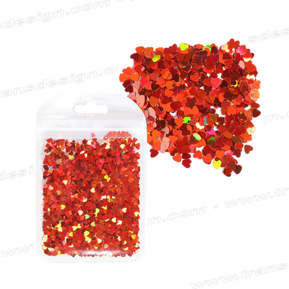 "FOIL HOLOGRAM ""Heart"" Small 1/8"", Red"