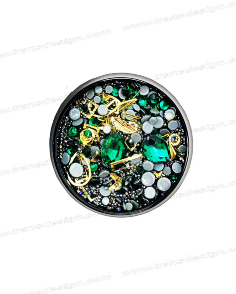 3-D NAIL JEWELRY EMERALD/ GRAY BALL / GOLD ALLOY/ JAR ZH-4