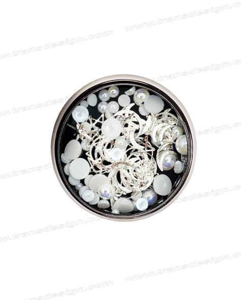 3-D NAIL JEWELRY WHITE PEARL/ SILVER ALLOY/ JAR ZH-6
