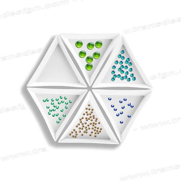 "TRAY White Triangle Plastic Sorting Pixie & Rhinestone 2.75""  5/Pack"