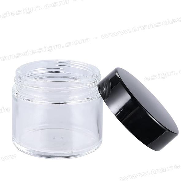GLASS JAR Clear With Black Lid 48/400. 2oz.